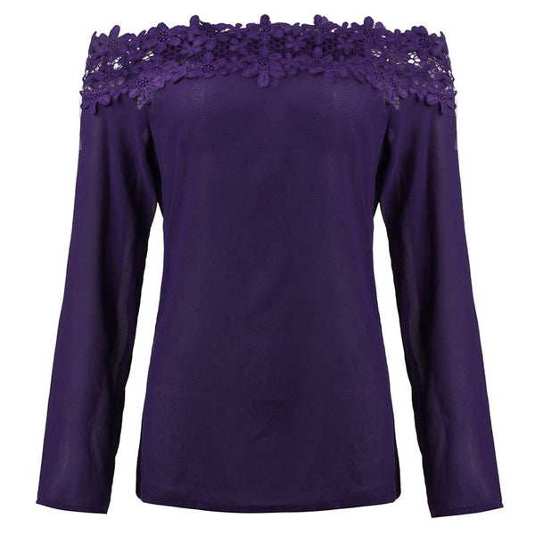 Lace Neck Long Sleeved Top