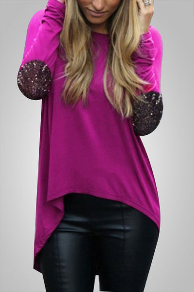 Glitter Patchwork Elbow Loose Top