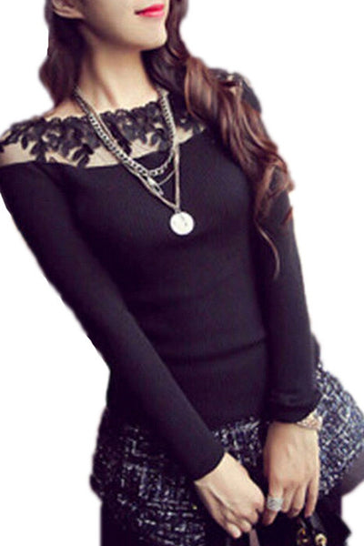 Lace Trim Long Sleeve Sweater