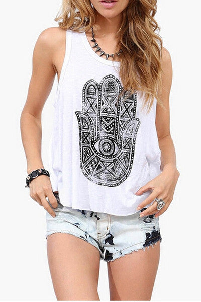 Plain Khamsa Printed sleeveless Top