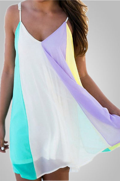 Colorful Sleeveless Chiffon Dress