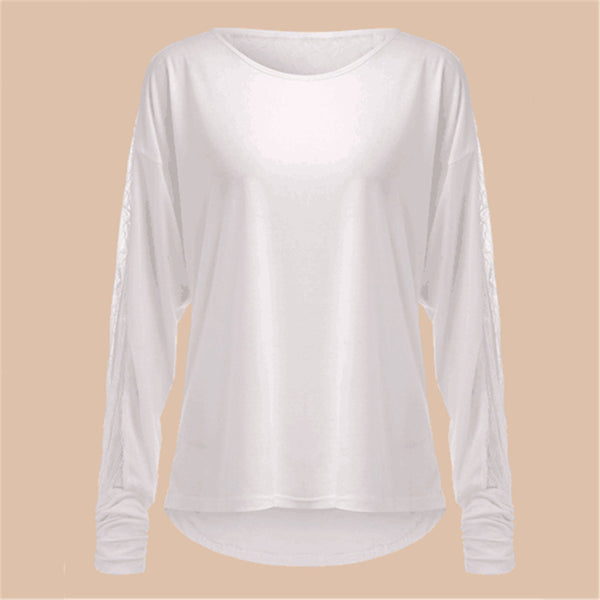 Long Sleeve Lace Spliced Top