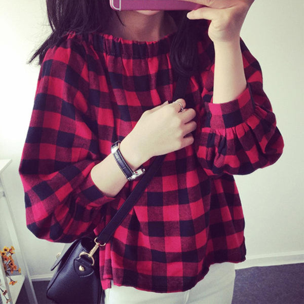 Trendy Checkered Off Shoulder Top