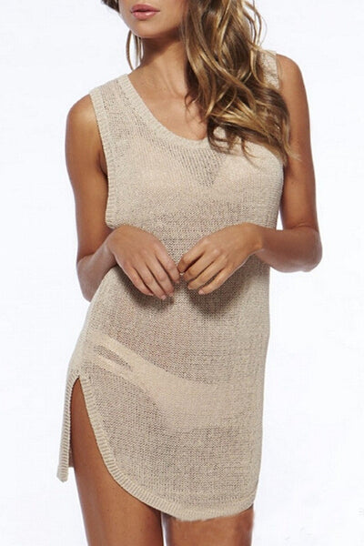 Solid Knitted Sleeveless Cover up