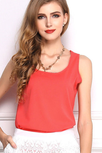 Hollow Out Cropped Chiffon Top