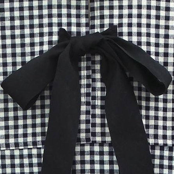 Long Sleeve Checkered Bowknot Shirt