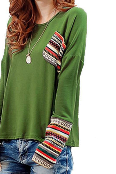 Knited Cuff Long Sleeve Casual Tops