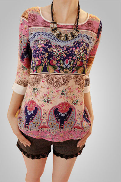 All Over Printed O-Neck Top