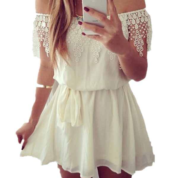 Party Princess Lace Off Shoulder Mini Dress?