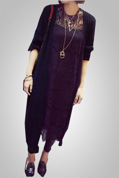 Loose Long Solid Color Cardigan