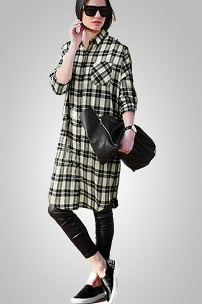 Classic Black & White Checkered Coat