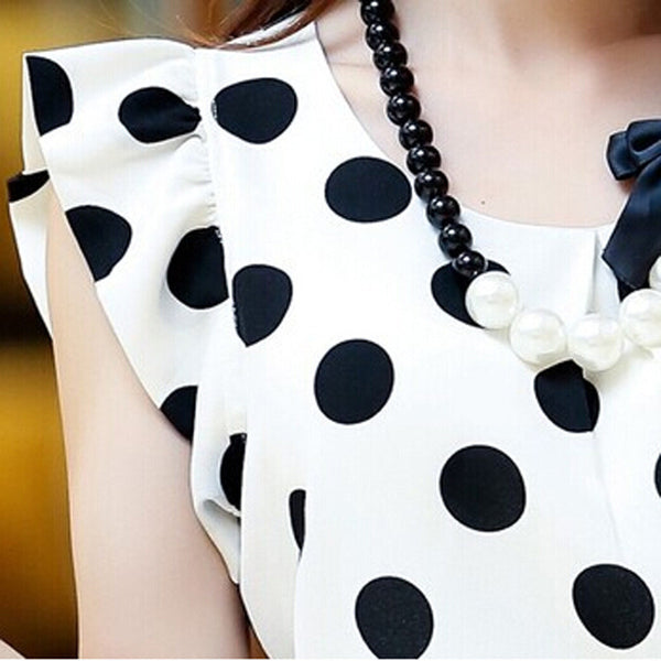 Short Sleeve Polka Dot Chiffon Top