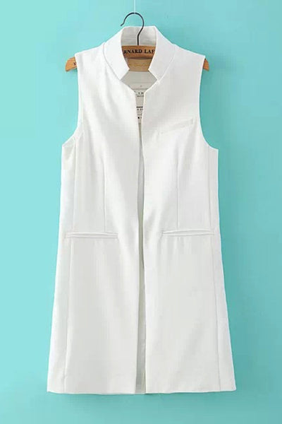 Sleeveless Long Solid Color Waistcoat