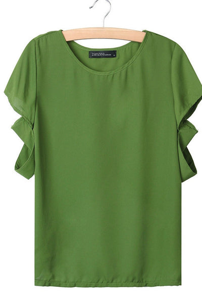 Casual Short Sleeve Chiffon Top
