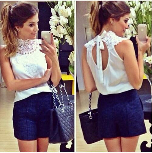 Live Life Queen Size Classy Lace Tie Back Top