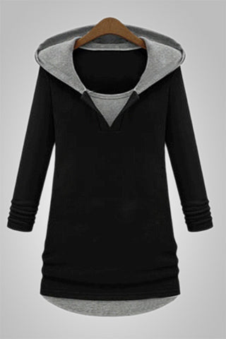 Grey Black Long Hooded Sweatshirt