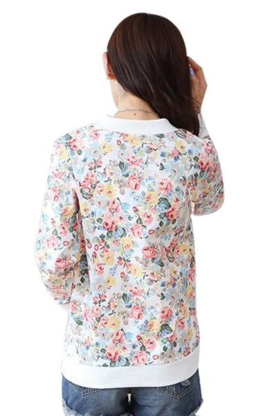 Floral O-Neck Sweatshirt with Zipper
