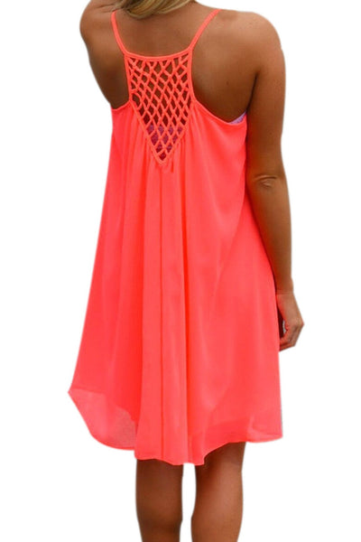 Sexy Chiffon Back Hollow Out Dress