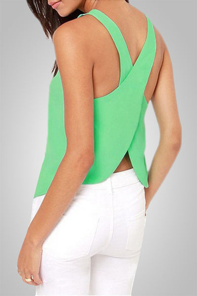Cross Back Sleeveless Short Top
