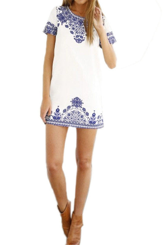 O-Neck Printed Short Dress
