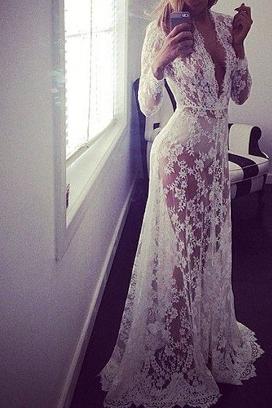 Fairy Tale Lace See Through Maxi Dress