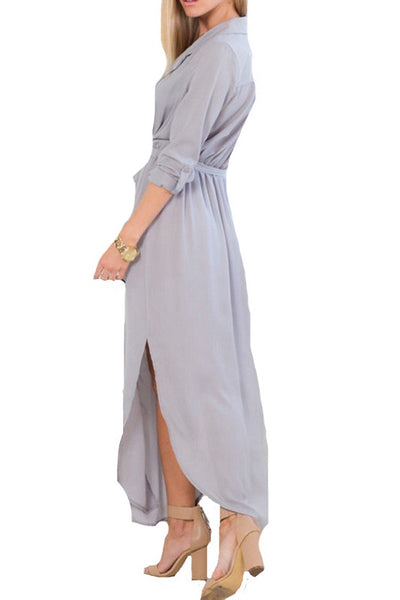 Autumn Magnificence Slit Maxi Dress