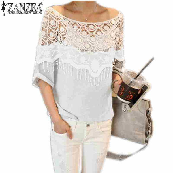 Casual Crochet Lace Collar Batwing Top