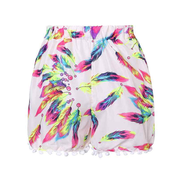 Let's Play Pom-pom Cute Flower Printed Shorts