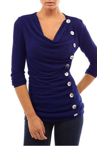 Plain Side Button Full Sleeve Top