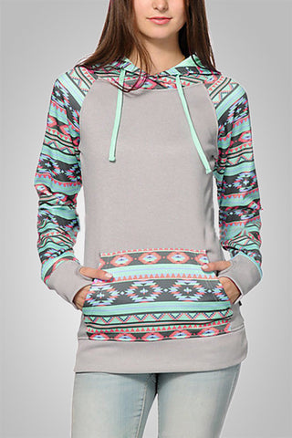 Geometric Print Sleeve Hooded Cardigan
