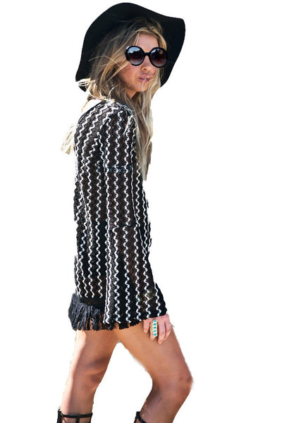 Black & White Striped Tassel Top