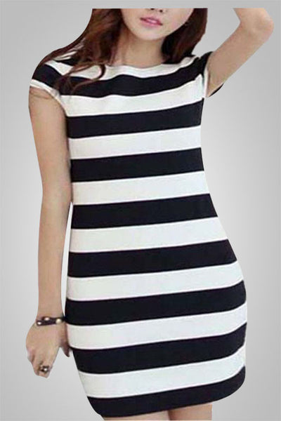 Black & White Striped Bowknot Back Dress