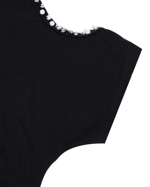 Plain Top with Beading on Sleeves