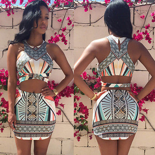 Wonder Of The Party Sexy Bandage Two Piece Dress