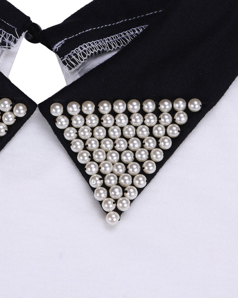 Pearled Collar Fashionable Blouse