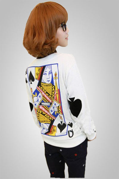 Poker Casual Long Sleeve Sweatshirt