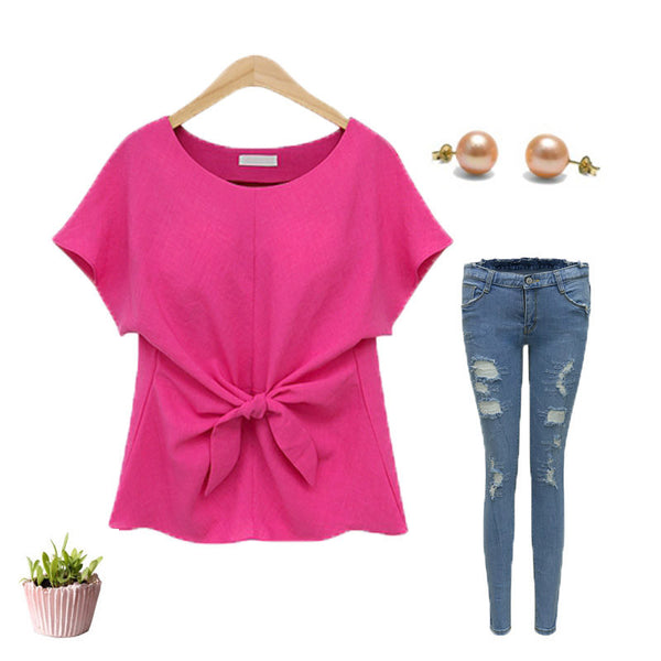 Cute Bow Solid Short Top
