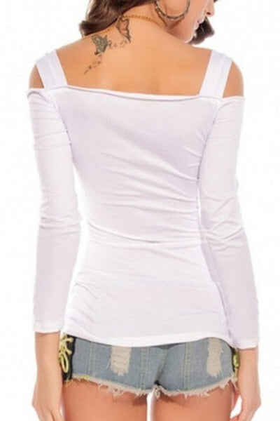 Slash Neck Buckle Off Shoulder Top