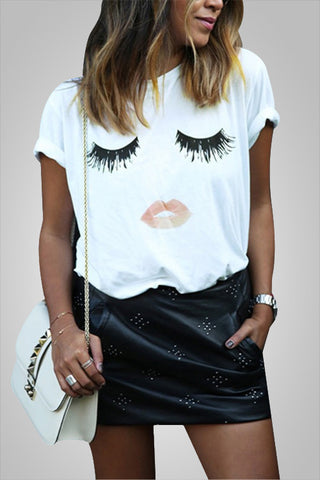lashes Lip Print Adorable Top