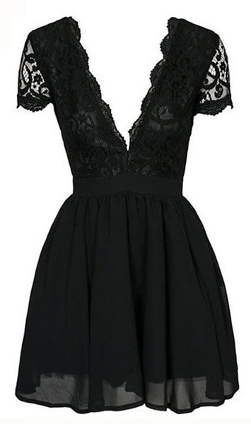 Showstopper Plunging Black Lace Dress