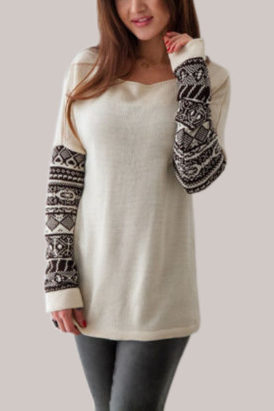 Contrast Knitted Long Sleeve Pullover
