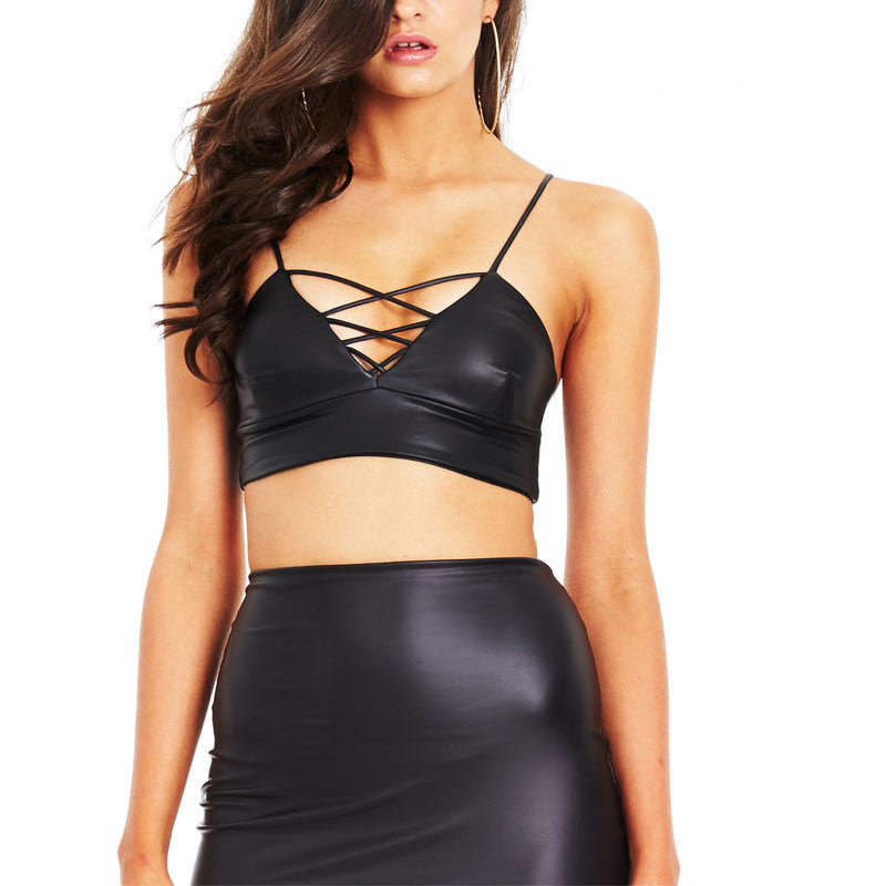 Criss Cross Leathery Affair Crop Top