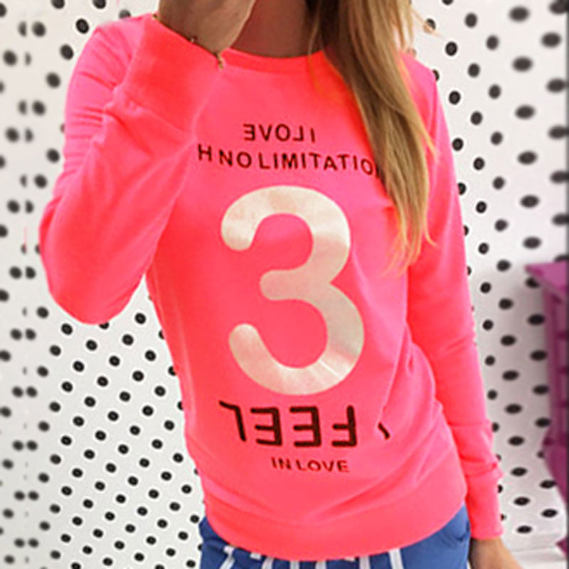 Love Addict Printed Casual Loose Sweatshirt