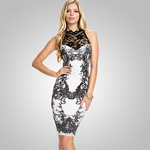 Floral Vintage Print Lacy Bodycon Sexy Summer Dress