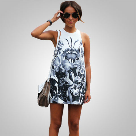 A-Line Sleeveless Summer Style Casual Print Dresses
