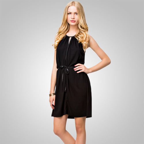 Black Halter Mini Boho Summer Dress