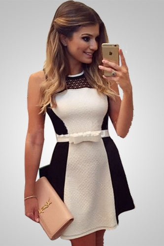 Black and White Sexy Hollow Casual Summer Dress