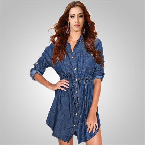 V-neck Blue Half Sleeve Cowboy Denim Jeans Dresses