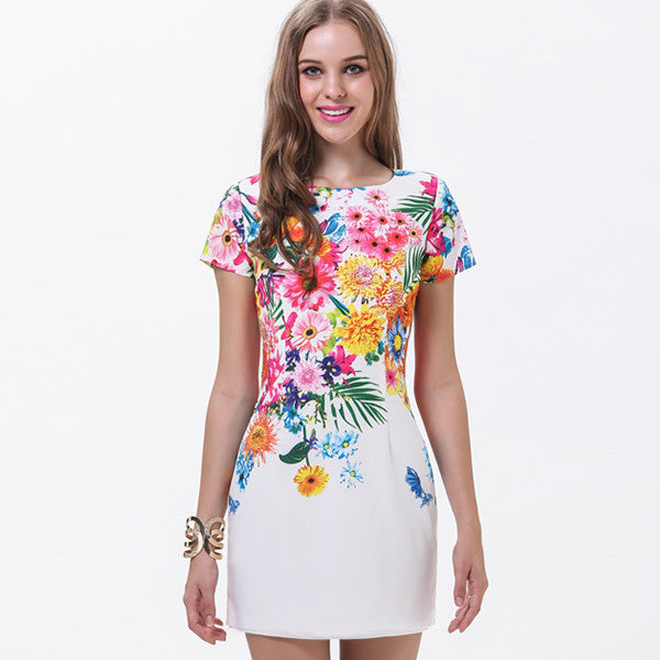 Short Sleeve Straight Summer Fashion Flowered Pattern Dresses