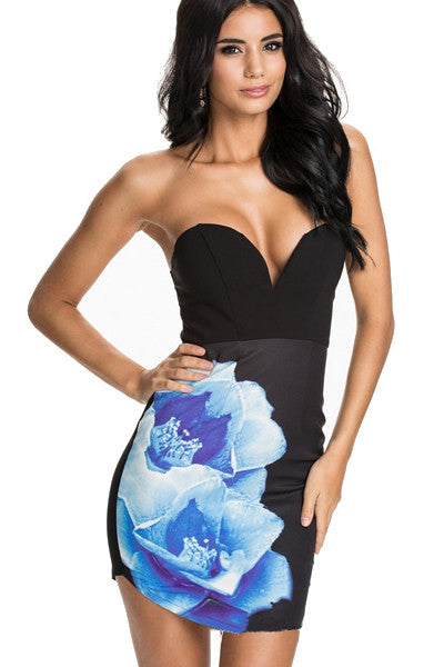 Flower Printed Big Backless Strapless Euro-styled Fashion Dresses